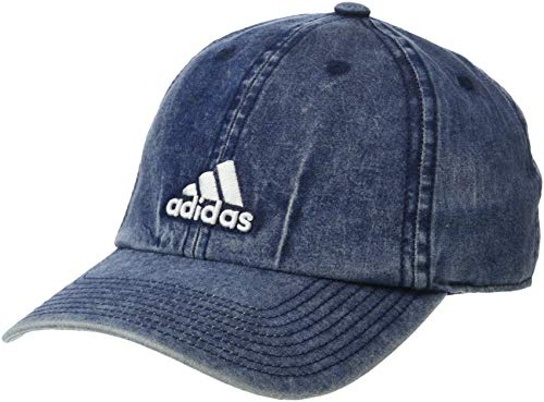 adidas Women's Saturday Plus Relaxed Adjustable Cap, Denim Wash/White, One Size
