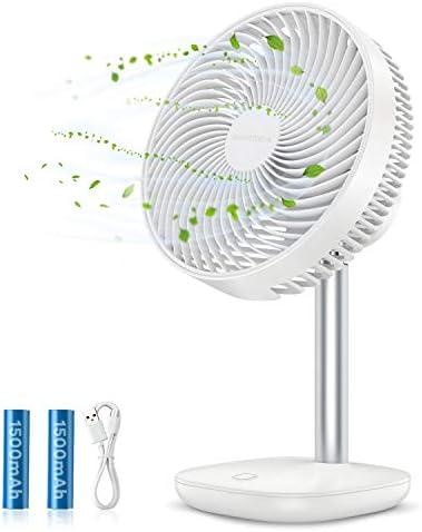 SmartDevil BureauventilatorTafelventilatorKleine Bureauventilator4 Snelheden Draagbare DesktopKoelventilator met 3000 mAh BatterijenVerstelbare Kantelhoek voor Thuiskantoor in de Slaapkamer Wit