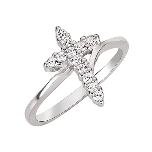 CloseoutWarehouse Cubic Zirconia Cross Ring Sterling Silver Size 8 (Sterling Silver Ring Cross)