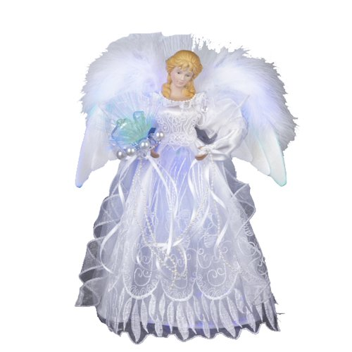 Kurt Adler 12-Inch White and Silver Fiber Optic LED Angel Treetop Deal (Large Image)