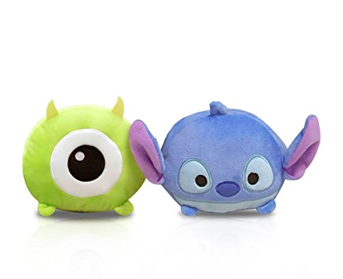 Finex - Set of 2 - Stitch and Mike Monsters Inc Tsum Tsum Series Plush Pillow Stackable Long Cushion