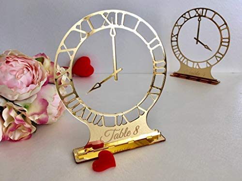 Laser Cut Clock Round Wedding Table Numbers With Base Engraved Unique Freestanding Numbers Elegant Gold Acrylic Sign Modern Centerpiece Decor Number Holders Geometric Personalized Happy New Year Decor -
