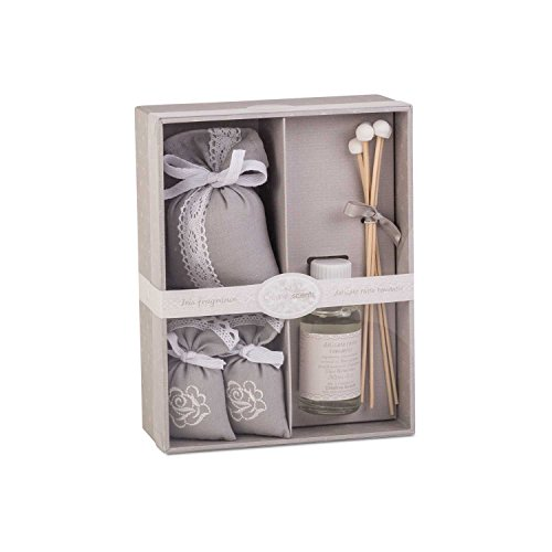 Creative Scents Iris Fragrances Gift Set, Reed Diffuser, Decorative Scented Sachet, And Two Mini Sachets by Creative Scents