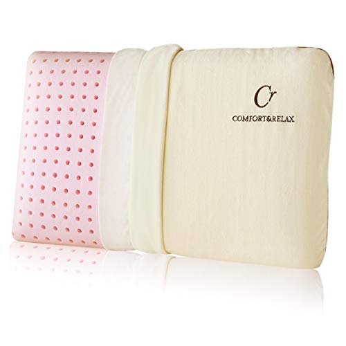 CR COMFORT & RELAX Memory Foam Pillow for Sleeping with with Ventilation Technology, Medium Soft, Standand, Pink
