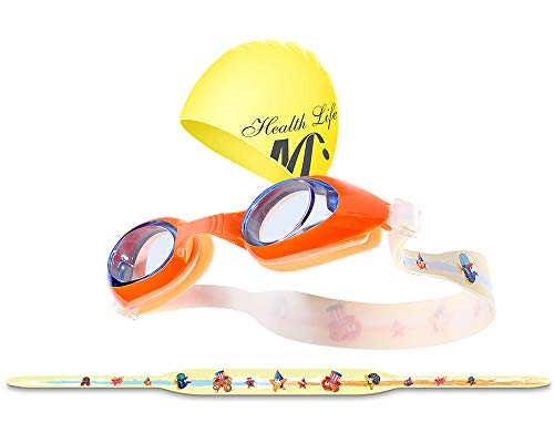 Children Swimming Goggles (Clean Lens/Blue Frame/Printed Mirror Belt) ()