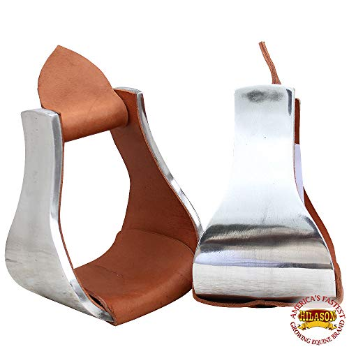 HILASON Aluminium Bell Stirrups Western Horse Saddle Pair 5 Inc Wide Roping Wade