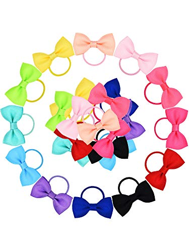 - Bememo 50 Pieces Baby Girls Bow Elastic Ties Ponytail Holders Tiny Soft Rubber Bands for Baby Kids (1.8 inch)