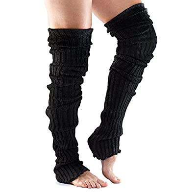 ToeSox Womens Thigh High Ribbed Knit Leg Warmers for Yoga & Dance