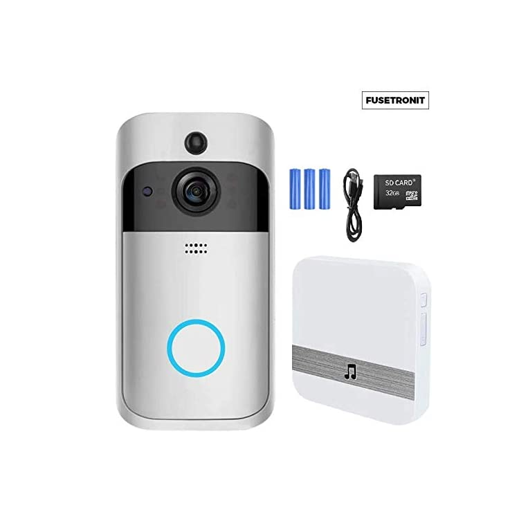 FUSETRONIT Smart Video Doorbell Camera (Include battery & Memory SD 32g), Motion Detection, Two-way Talk, Wi-Fi…