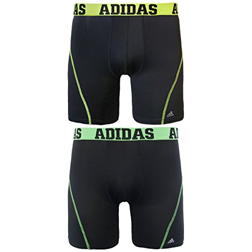 adidas Men's Sport Performance Climacool 9-Inch Midway Underwear (2-Pack), (Black/Solar Yellow)/(Black/Flash Green), Medium