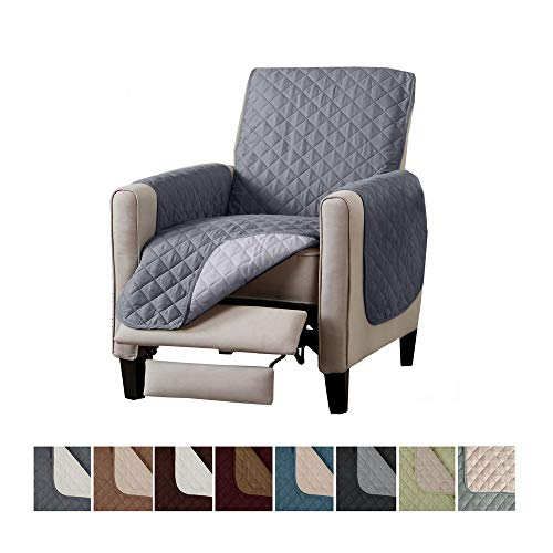 Home Fashion Designs Deluxe Reversible Quilted Furniture Protector. Perfect for Families with Pets and Kids. (Recliner, Light Grey/Dark Grey)
