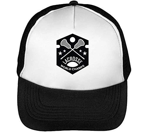 Badge Lacrosse Blanco World Negro Snapback Hombre Gorras Champs Sport Beisbol dq1wRd