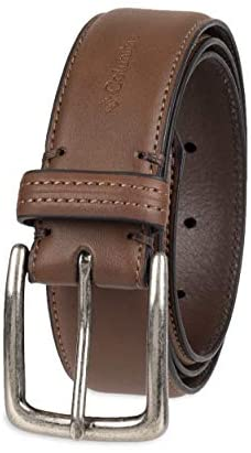 Columbia Men's Trinity Logo Belt-Casual Dress with Single Prong Buckle for Jeans Khakis