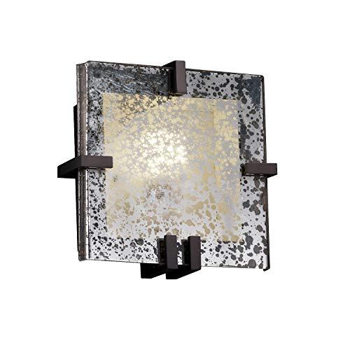 Justice Design Group Lighting FSN-5550-MROR-DBRZ-LED1-1000 Fusion - Clips Square Wall Sconce - Dark Bronze - Mercury Glass - ()