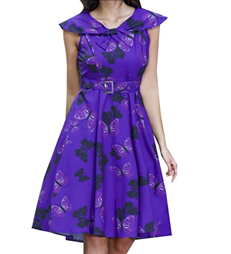 Sailor Purple Rockabilly Belted Coolred Painting Dress Retro Sleeveless Women's Collar nfxxq7Xgw