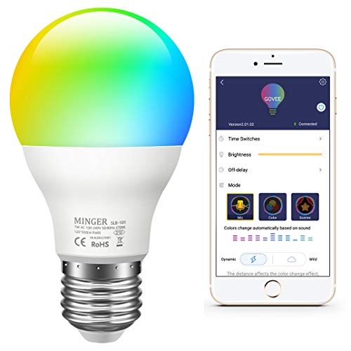 - MINGER Color LED Light Bulb, RGB Music Sync Dimmable Color Changing Bulbs A19 7W Equivalent 60W, Multi-Color Smart LED Light Bulbs for Party Holiday Bedlamp, Needed APP Control (Not WiFi)