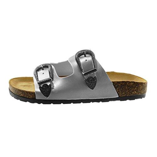 Angkorly Women's Fashion Shoes Sandals Mules - Slip-on - Buckle - Metallic - Cork Flat Heel 2.5 cm Silver