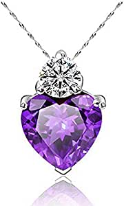 Love Heart Purple Crystal Necklace - 925 Silver Plated