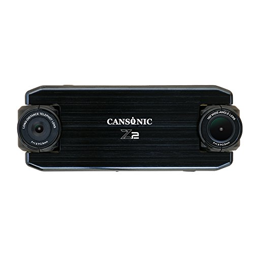 Cansonic UltraDuo Z2 (Standard Edition) Dual Lens Dash Cam Dashboard Camera With Duo Full HD 1080P, 160ft Zoom in for license plate, Wide Angle, G-sensor, WDR Night Vision, Loop Recording, 2'' LCD by Cansonic