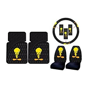 tweety bird w attitude 5pc combo set front floor mats seat covers steering wheel. Black Bedroom Furniture Sets. Home Design Ideas