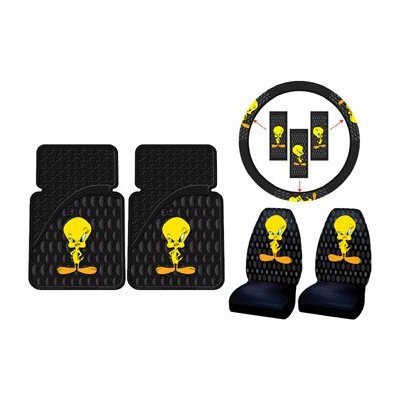 Tweety Bird w/ Attitude 5pc Combo Set Front Floor Mats, Seat Covers & Steering Wheel Cover by Plasticolor (Image #1)