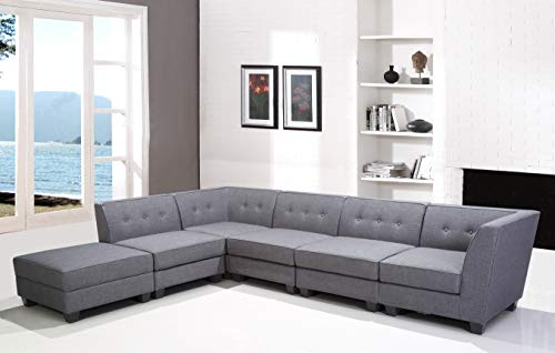 Best Master Furniture R168 Vendome 6 Piece Modular Fabric Sectional Sofa, Grey