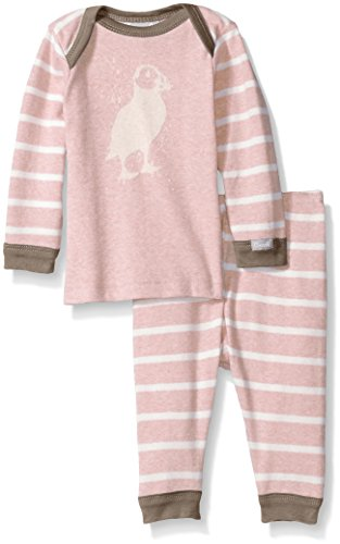 Pink Contrast Rib Knit Cotton 2 Piece Set, Heather Pink/Cream Stripes, 9 Months ()