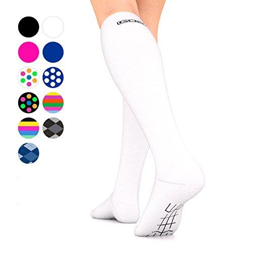 Go2Socks GO2 Compression Socks for Men Women Nurses Runners 16-22 mmHg (Medium) - Medical Stocking Maternity Travel - Best Performance Recovery Circulation Stamina - (White, Small Single)