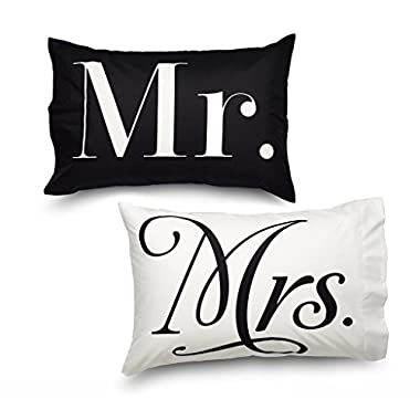 Pillowcase Set Queen Size MR & MR's Double Brushed Ultra Microfiber Luxury Set By Where the Polka Dots Roam