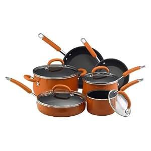 Rachael Ray Non-Stick Cookware Set, 10-Piece (Orange)
