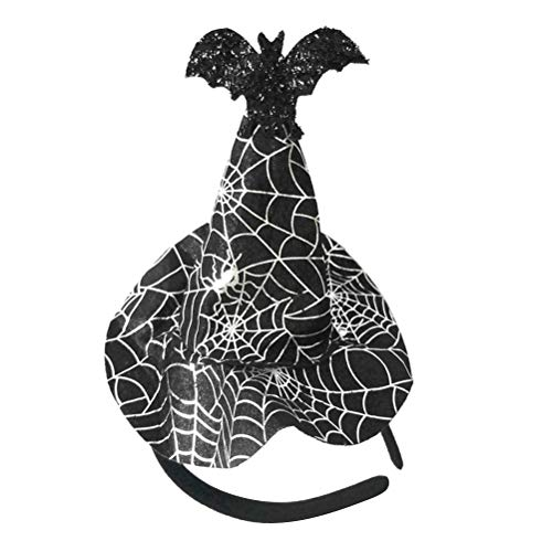 (Amosfun Halloween Witch Hat Headband Novelty Cosplay Party Spider Web Hair Hoop Bat Hairband Halloween Carnival Masquerade Party Cosplay Costume Accessory)