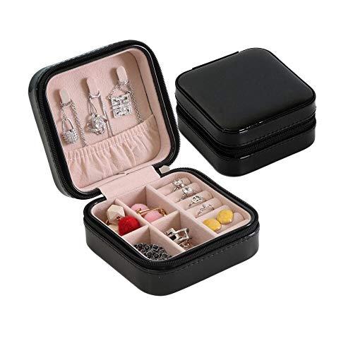 Small Travelling Jewellery Box, Zippered Travel Jewelry Organizer Case Premium PU Leather Luxury Jewellery Box for Girls Women Rings Earrings Necklace Bracelets