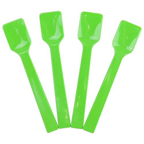 Green Ice Cream - Green Plastic Gelato Tasting Spoons - 4 Inch Mini Disposable Shovel Spoons for Sampling Yummy Desserts, Foods & Ice Cream - Fast Shipping - Frozen Dessert Supplies - 100 Count