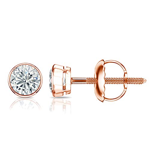 14k Rose Gold Round Diamond Stud Earrings (1/6cttw, Good, I2-I3) Bezel Set with Screw-backs Diamond Wish ()