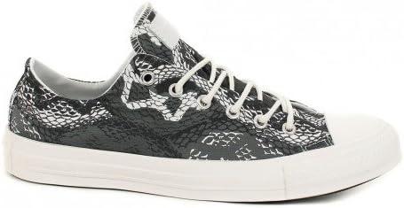 Converse basse grise et blanc motif Python