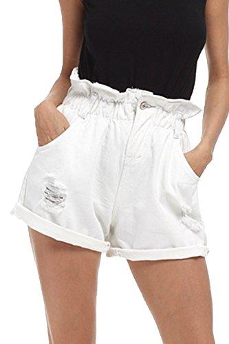 Jeans Strappato Taglia Pantaloncini Yulinge Tasca White Con Donne Di Elasticizzati 5qtpRw7
