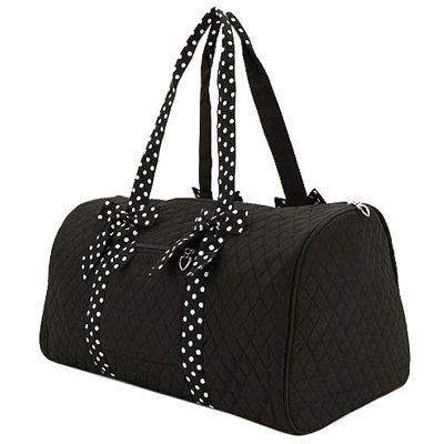 754c3bb913b0 Amazon.com  Large Quilted Duffle Bag with Polka Dots Accent Ribbons  (Black White)  Everything Else