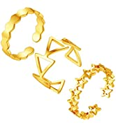 FindChic 18K Gold Plated Stackable Statement Rings for Women Geometric Triangle Waterdrop 3pcs Kn...