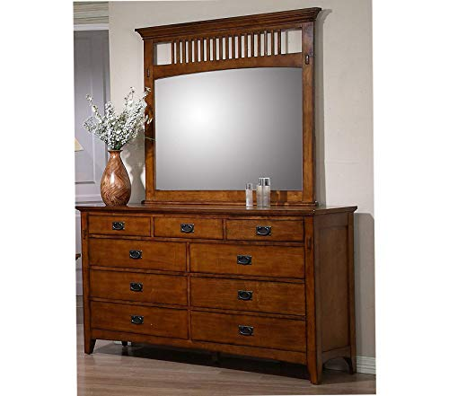- Wood & Style Furniture Tremont Bedroom Dresser Mirror Set Warm Chestnut Premium Office Home Durable Strong