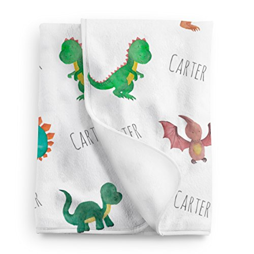 Personalized Dinosaur - Personalized Dinosaur Fleece Baby Blanket