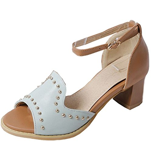 SJJH Sandals with Open Toe and Chunky Heel Comfortable Sandals for All Women Blue T9nwAP