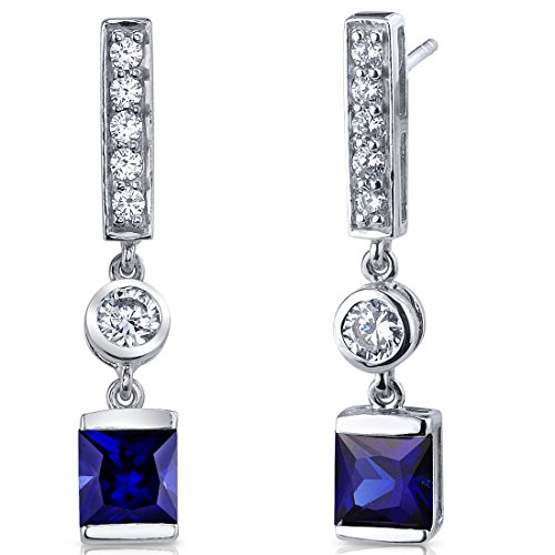 Created Sapphire Princess Cut Dangle Earrings Sterling Silver Rhodium Nickel Finish 2.50 Carats ()