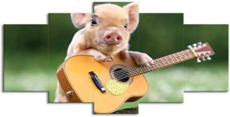 5 piezas de cerdito tocando la guitarra sala de estar animal arte ...