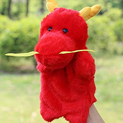 NUOBESTY Hand Puppets Frog PlushDinosaur Doll Animal Toys Role Imaginative Play Accessory for Pretend Play Stocking Storytelling (Red): Toys & Games