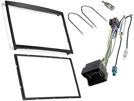 Sound-Way Kit Montage Autoradio, Marco 2 DIN Radio de Coche, Adaptador Antena, Cable Adaptador Conector ISO, Llaves Desmontaje Compatible con Citroen, ...