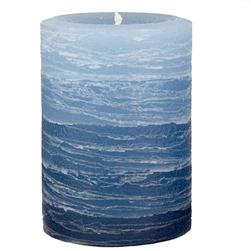 Nordic Candle - Layered Pillar Candle - 3x4 Inch Blue - - Pillar Unscented