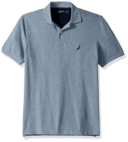 Nautica Men's Short Sleeve Solid Cotton Pique Polo Shirt, Deep Anchor Heather, Medium