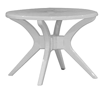 Amazon De Gartentisch Steiner Milano O 100 Cm Rund Kunststoff Weiss
