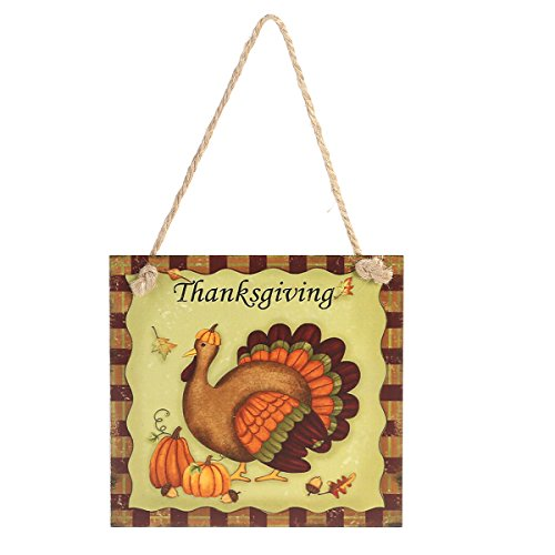Tinksky Thanksgiving Wooden Hanging Plaque Sign Thanksgiving Door Hanger Wall Decorations (Thanksgiving)
