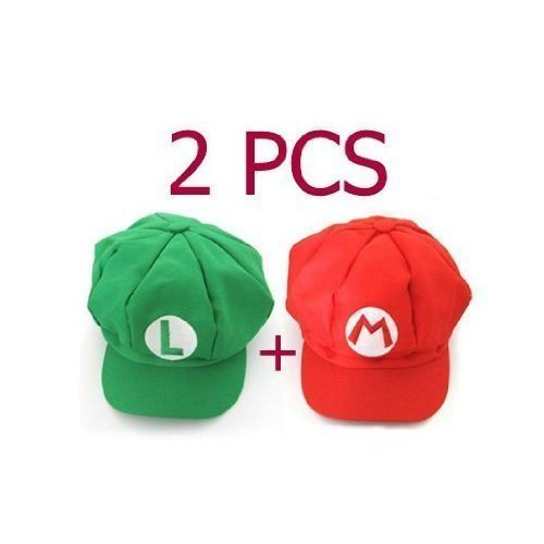 Togetherwe 2pcs Super Mario Bros Hat Mario Luigi Cap Cosplay Red -